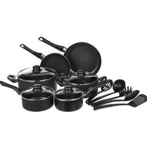 AmazonBasics - Batteria da cucina, 15 pezzi con rivestimento antiaderente